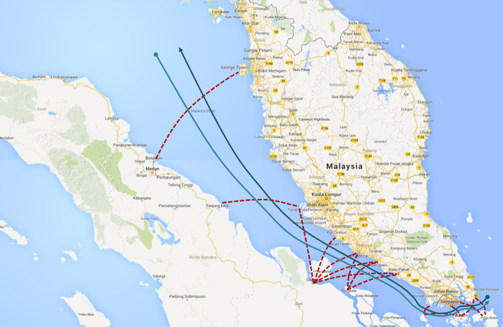 Cross strait traffic in the Malacca/Singapore Straits